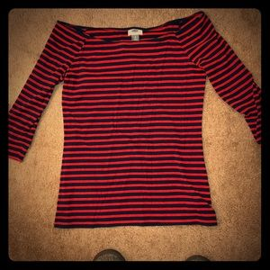 Old navy 3/4 length navy and red striped top